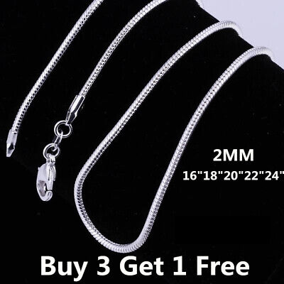 "wholesale 925 Sterling Silver SNAKE Chain Necklace 16 18 20 22 24"" Inch 2mm"
