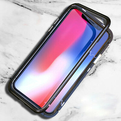 Magnetic Adsorption Metal Luxury Tempered Glass Case Cover For iphone X 7 8 Plus