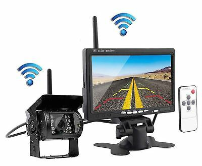 "Wireless IR Rear View Back up Camera System+7"" Monitor F Truck RV Car 12-24V"