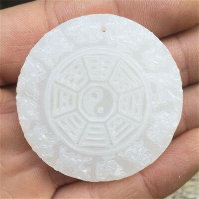 Hand Carved Chinese Zodiac Pendant Antique Old Jade Gem YingYang Bagua Tai Chi
