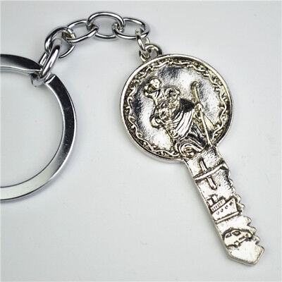 Ant.Silver Plated Key With Religious St Christopher Keyring For Safety Traveling