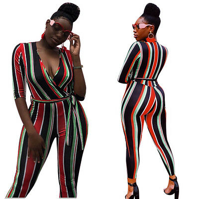 c2531e8dfdc0 Sexy V Neck 3 4 Sleeve Striped Bodycon Jumpsuit Romper With Belt Clubwear  Casual