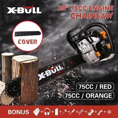 "X-BULL Petrol Commercial Chainsaw  75cc 20"" Bar E-Start Chain Saw Tree Pruning"