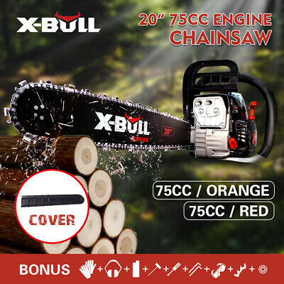"X-BULL 75cc Petrol Commercial Chainsaw 20"" Bar E-Start Chain Saw Tree Pruning"