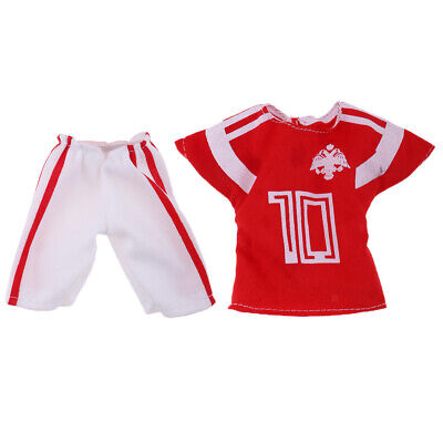 2pieces Doll Soccer Uniform Outfit Garment for 32cm Ken Doll Gift