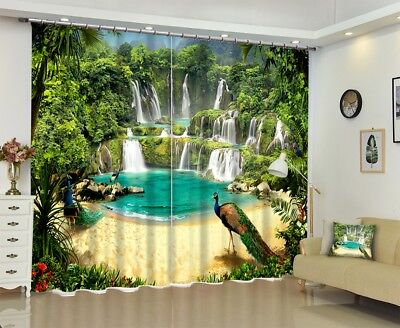 Window Curtains Peacock Waterfall Scenery 3D Printing Blockout Drapes Fabric NEW