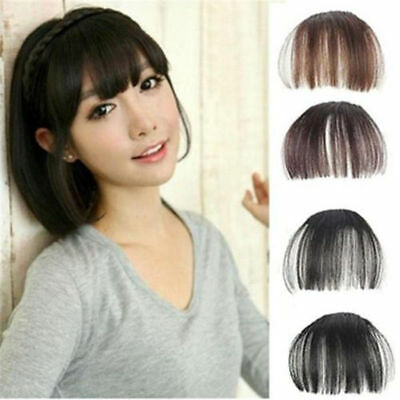 Thin Women Neat Air Bangs/Fringe Clip on/in Hair Extensions Remy Human Hairpiece