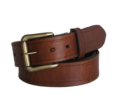 "R.G. BULLCO USA Made RGB-110 1-1/2"" Full Grain Brown Leather Belt - Size 44"