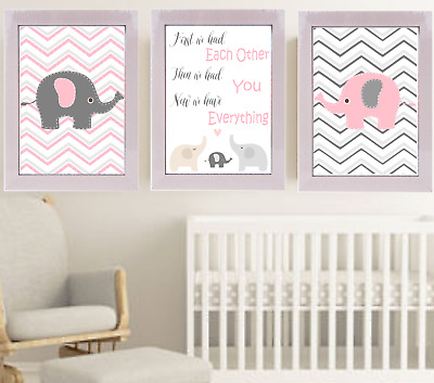 First We Had Each Other Elephant Nursery Print Set, pink And Grey Baby Room Art