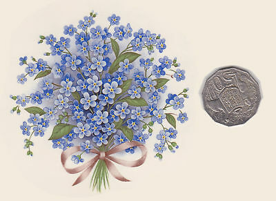 """1 x Waterslide ceramic decal. Large bouquet Blue forget-me-not 4"""" approx. PD716"""