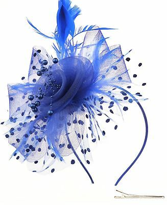 Womens Ladies Fascinators Hat Headband Clip For Cocktail Tea Party (b-Blue)