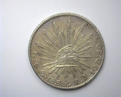 Mexico 1835-Gopj Silver 8 Reales -Dot On Cap- Choice Uncirculated