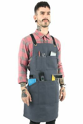 Essential Cross-Back Apron – Gray Waxed Canvas – Leather Reinforcement