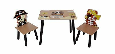 Kiddi Style Children's Pirate Themed Wooden Table and Chair Set Brown .