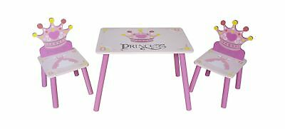 Kiddi Style Childrens Princess Themed Wooden Table and Chair Set, Pink .