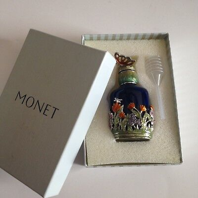 SIGNED VINTAGE Monet BUTTERFLY COBAL BLUE PERFUME BOTTLE WITH FLOWERS & STOPPER