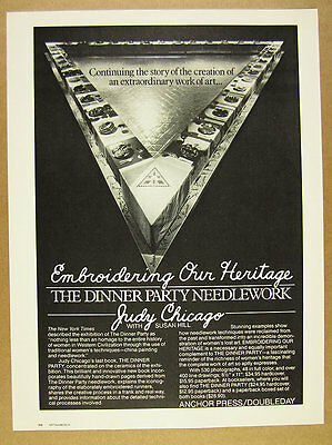 1980 Judy Chicago The Dinner Party book release promo vintage print Ad