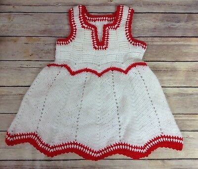 Vintage Baby Girl Handmade ? Dress Lace and Crochet Details Red White 18 Months