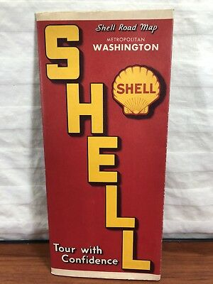 Vintage 1940's 1950's Shell Gas & Oil Advertising Folding Road Map