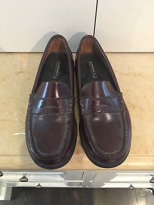 c189d6d3fc5 Sperry Boy s Colton Penny Loafers Boat Shoe Boys Size 2 N Narrow Burgundy  EUC