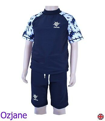 Boys Ozcoz Uv Upv 50+ Sun Protection Suit Black 6 To 14 Yr Swimming Costume