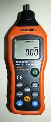 PROTME MS6208A Digital Tachometer Contact Type Speedometer 50~19999 RPM