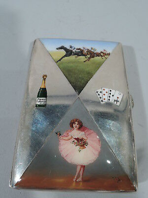 Antique Cigarette Case - 4 Sin Symbols of Naughty Vices - Austrian Silver Enamel