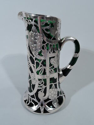 Antique Claret Jug - Art Nouveau Decanter - Emerald Green Glass & Silver Overlay