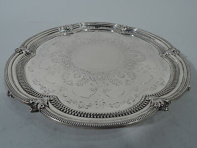 Edwardian Salver - Fancy Antique Tray - English Sterling Silver - Cooper 1908