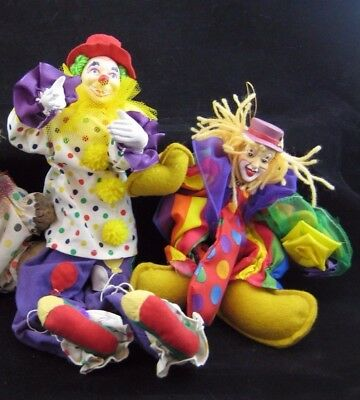 CLOWNS...Lot of Two  Polka-Dot Poseable , Colorful Fabric Clowns-Very Detailed