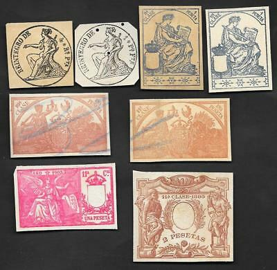 M-25 Spain lot of 8 cut revenue stamps, 1840s-1900s