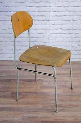 Vintage Mid Century Industrial Stacking Stackable Cafe Bar Dining Chairs