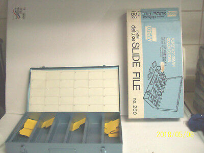 """NEW Vintage Logan Metal Deluxe Slide Files No. 200 Holds 750 For 2"""" X 2"""" - 35MM"""