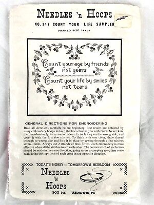 Vintage Needles n Hoops Stamped Cross Stitch Count Your Life Sampler Kit No. 147