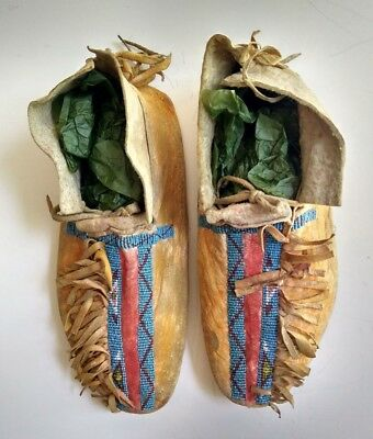 Antique 1880's Cheyenne Indian Beaded Moccasins
