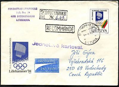 Lithuania 1994 Registered Cover To Czech Republic #C45051