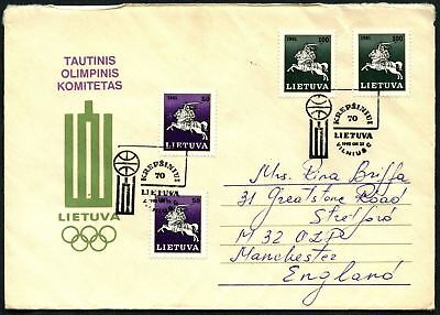 Lithuania 1992 Winter Olympic Games Cover To England #C45044