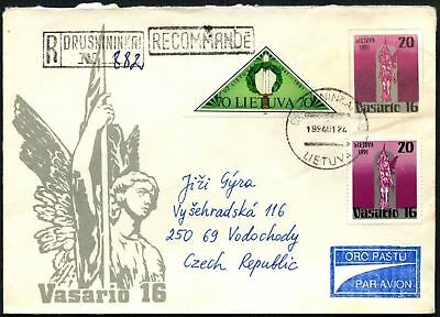 Lithuania 1994 Registered Cover To Czech Republic #C45050