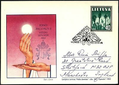 Lithuania 1993 Papal Visit, Pope Illustrated Stationery Card #C45040