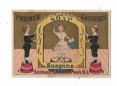 Old Trade Card SOAPINE French Laundry Soap Kendall Providence Girl Frame Stage