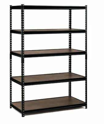 72 in. H x 48 in. W x 24 in. D 5-Shelf Steel Commercial Shelving Unit in Black