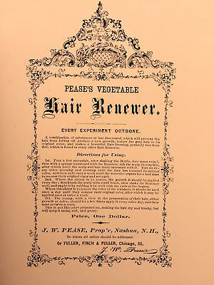 1870's PEASE'S HAIR RENEWER ADVERTISING FLYER, NEW HAMPSHIRE PATENT MEDICINE