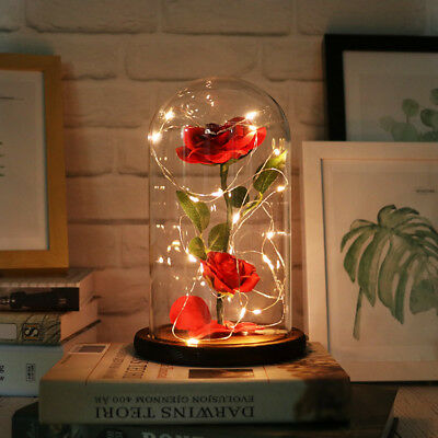 Beauty And The Beast Enchanted Rose Glass Dome LED Romantic Christmas Gift Decor