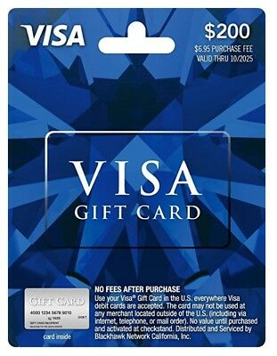 $200 Visa Card No Fees - Already Activated and ready to Use! Great gift!!