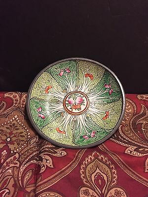Japanese Porcelain Plate Hand Decorated in Hong Kong With Outer Metal Shell