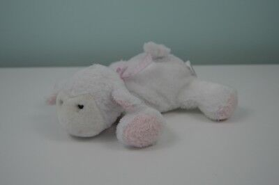 Soft Dreams Lamb Plush Stuffed Animal Sheep White Pink Bow Rattle