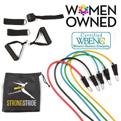 Exercise Resistance Band Set : 11 Piece Set and Bonus FitGrip From Strong Stride