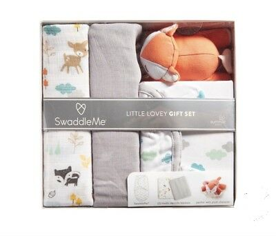 Summer Infant Gift Set. SwaddleMe Wrap, Two Muslin Blankets, Fox Pacifier