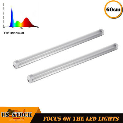 "2X Full Spectrum 24"" Led Grow Light T8 Indoor Greenhouse Plant Growing Tube 2ft"