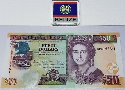 BELIZE 50 Dollars, 2016, P-70, QEII, UNC - Rare Serial